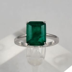 Sterling 3ct Natural Emerald Ring